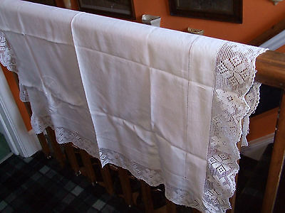 """Pretty Victorian Lace Tablecloth With 4"""" Lace Edge...measures 40"""" X 44"""""""