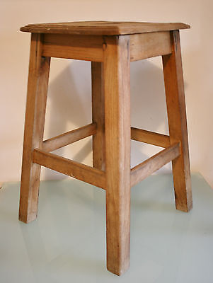 """Vintage French Wooden Square Stool 4  Legs 18"""" (46cm) Tall"""