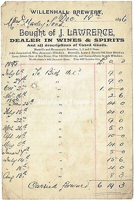 1896 Billhead - J.Lawrence, Wine Dealer at Willenhall, Staffordshire