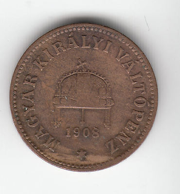Hungary 2 Filler 1908 Copper Crown    266D       By Coinmountain