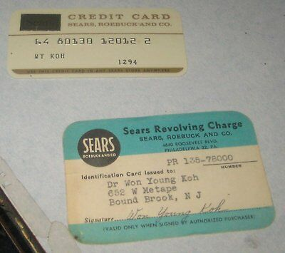 VINTAGE SEARS  2 Credit cards Pre magnetic strip