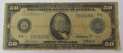 1914 $50 Federal Reserve Note Large Size FR#1040 Burke - McAdoo C6030
