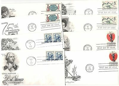 sixteen different 1966 cacheted first day covers