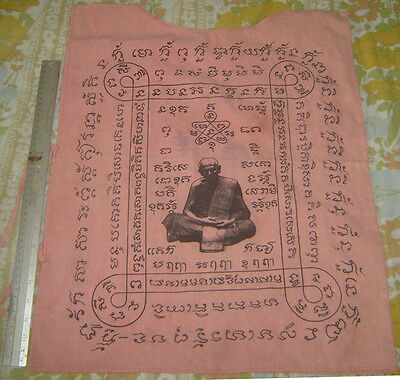 """""""Suaw-Yahn""""Buddha Red coat artist Holy Yantra Cloth""""Lung Poo Tim""""Famous Monk"""