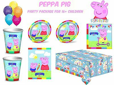 Peppa Pig Party Package for 16+ Childrens Kids Cartoon Birthday Party Sets & Dec