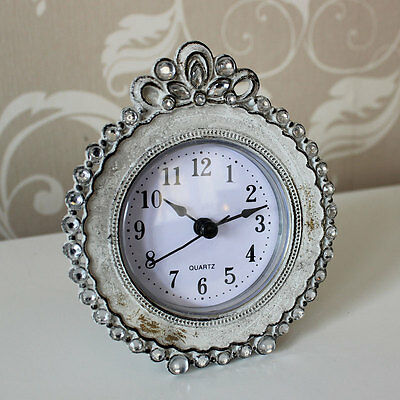 cream metal diamante clock home gift accessory mantle shabby vintage chic