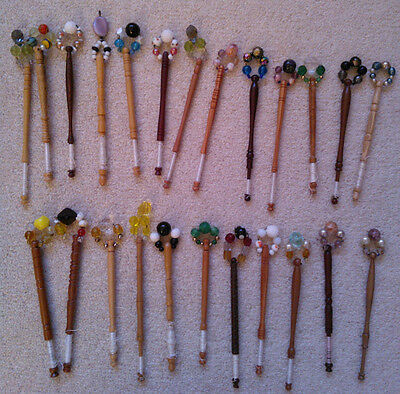 24 Vintage Spangled Bobbins + Cotton Draw String Bag