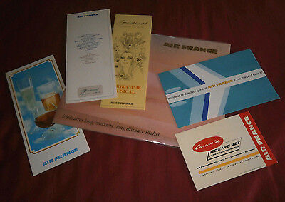 Air France. Long Distance Flights Caravelle Network Brochure & 5 Other Leaflets