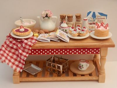 Dolls house food: Country baking day table   -By Fran