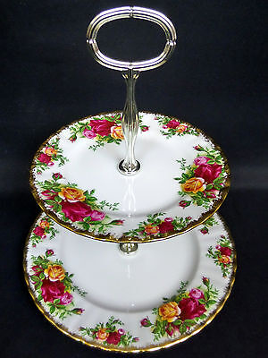OLD COUNTRY ROSES 2-TIER CAKE STAND, 1st QUALITY, VGC, 1973-93, ROYAL ALBERT