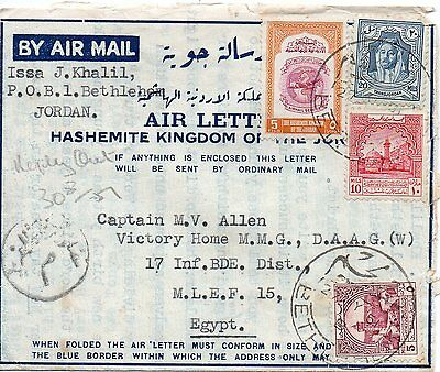 Jordan 1951 air letter to Egypt , back stamped FPO 576