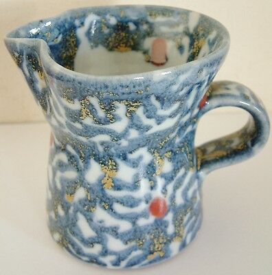 Lovely Decorative Small Pottery Milk Jug Blue White Red Yellow 9.5cm high