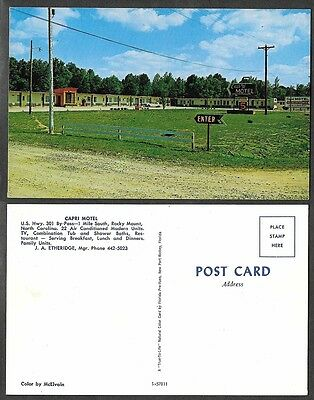 Old Hotel,Motel Postcard - Rocky Mount, North Carolina - Capri Motel