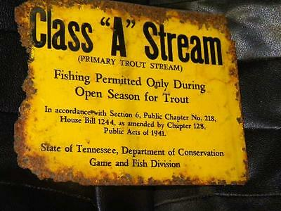 Old Tennessee Class A Stream Wildlife Trout Fishing Season Sign Original