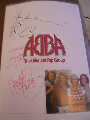 Abba Glossy A4 Copy Of Original Autographs Personally Collected In 1979