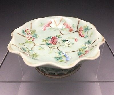 Old Chinese Celadon Glazed Enamel Painted Footed Tray Grasshopper Flowers