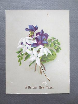 ANTIQUE New Year Greetings Card Posy of Violets & Jasmine Victorian