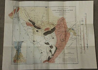 North Western Arabia And Negd Sketch Map By Charles M. Doughty + RARE Book 1923