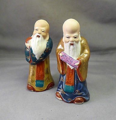 Chinese Republic Period Immortal Figures x 2 - Hand painted Fine Quality Antique