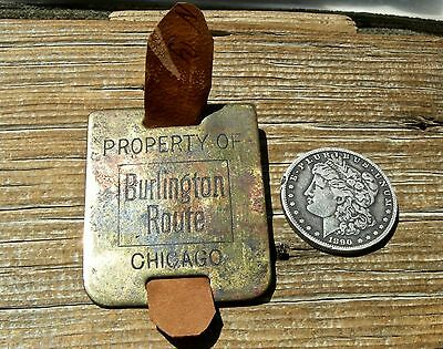 """old LG. BRASS """"PROPERTY OF BURLINGTON ROUTE"""" CHICAGO IL RAILROAD RR BAGGAGE FOB"""