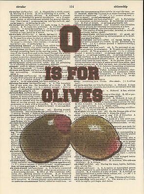 O is for Olives Alphabet Altered Art Print Upcycled Vintage Dictionary Page