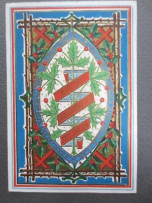 ANTIQUE Christmas Greetings Card Hidden Message Holly Crosses Victorian 1874