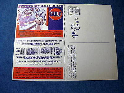 Gulf Oil Lincoln Highway Route 30 Folding Postcard Mansfield OH Fort Wayne IN