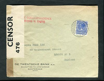1918 Amsterdam Netherlands Cancel Bank Advertising  to England PC 66 Censor Tape