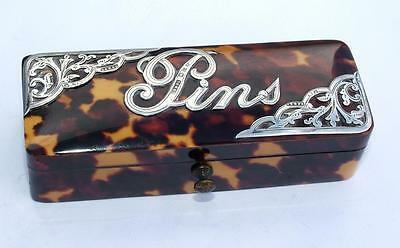"Stunning Antique Silver Mounted Hm 1896 Faux Tortoiseshell ""pins"" Pin Case / Box"