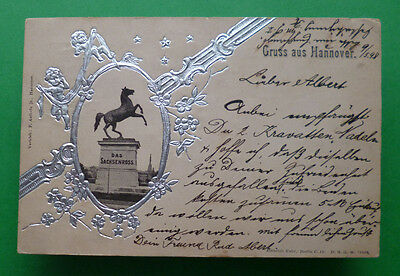 May 5, 1898 Silver-embossed postcard ''Gruss aus Hannover'' Germany