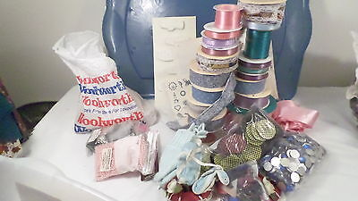 Assorted Craft Lot of Ribbons Mini Appliques & More in Container
