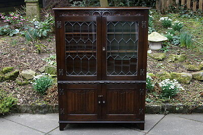 Jaycee Old Charm Carved Oak Bookcase Stand Display Cd Dvd Cabinet Shelves Table