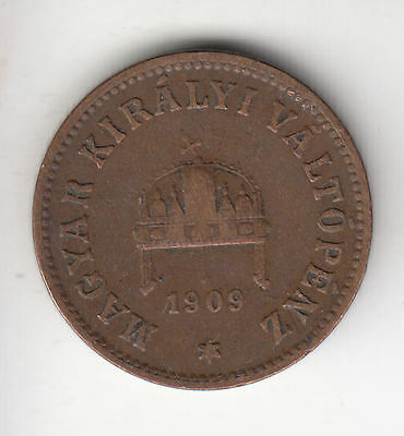 Hungary 2 Filler 1909 Copper Crown     394D        By Coinmountain