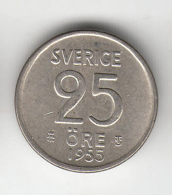 Sweden Silver 25 Ore 1955 Crown Ef+    315D            By Coinmountain