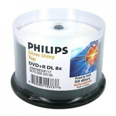 50 Philips Double Layer 8.5GB 8X DVD+R DL Shiny Silver
