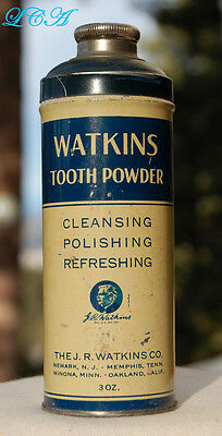 Antique WATKINS TOOTH POWDER tin still CAPPED with CONTENTS for the TEETH