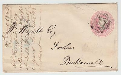 GB 1852 1d ENVELOPE B GRANTHAM TO BAKEWELL