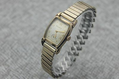 1953 BULOVA 10BM 17 Jewel Gold Filled Cat Ear Lugs Men's Dress Watch E64