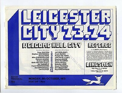 (Ga5203-469) Leicester City vs Hull City League Cup 2nd Round 8/10/1973 VG
