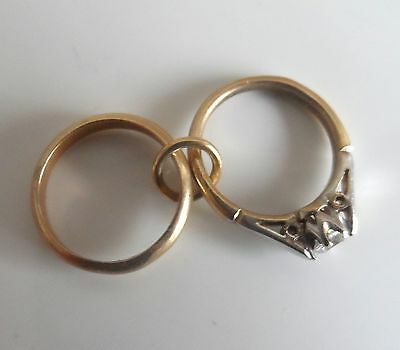 Vintage 70s 9ct Yellow Gold Wedding & Enagement Ring CHARM