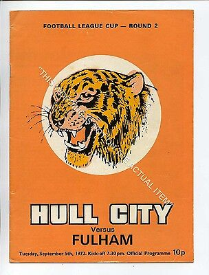 (Ga5223-469) Hull City vs Fulham League Cup 2nd Round 5/9/1972 VG-EX