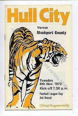 (Ga5229-469) Hull City vs Stockport County League Cup 3rd Round 6/11/1973 EX