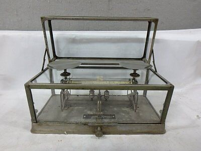 ANTIQUE DRUG STORE Pharmaceutical Apothecary Torsion Balance Co GLASS SCALE #269
