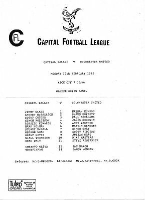 Football Programme CRYSTAL PALACE RESERVES v COLCHESTER UNITED RESERVES Feb 1992