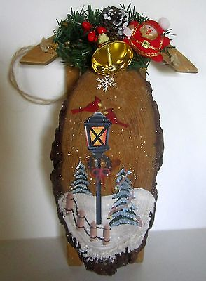 """Hand Painted With Cardinals 9"""" Wooden Sleigh"""