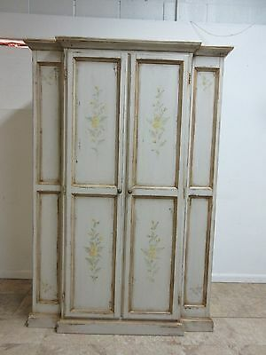 Custom Italian Paint Decorated Old Word Wardrobe Linen Press Armoire Cabinet