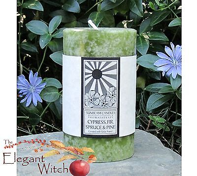 "3"" Cyprus Fir Spruce Pine Aromatherapy Essential Oil Pillar Candle Wicca"