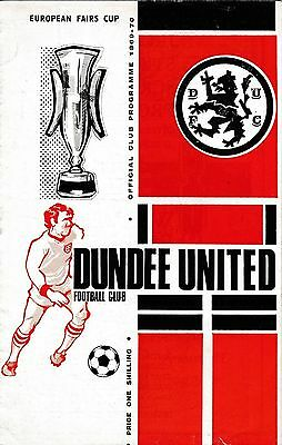Football Programme DUNDEE UNITED v NEWCASTLE UNITED Sept 1969 European Fairs Cup