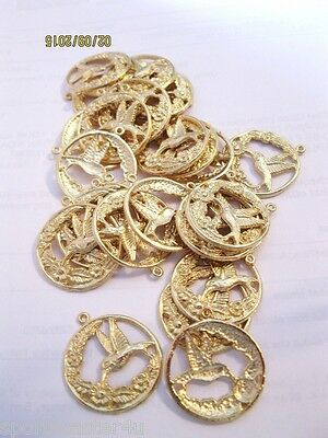 14 LOT Goldtone Findings Round W/Hummingbirds & Flowers Charms  Making Jewelry