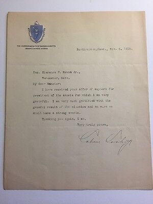 President Calvin Coolidge 1914 Typed Letter Signed - Good Content - Mass. Senate